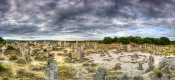Stone forest or Stone desert /Pobiti kamani/ near Varna, Bulgaria - panorama. Stone forest or Stone desert /Pobiti kamani/ is a rock natural phenomenon near stock photography