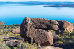 Stone in form of camel, horse head. Mount Amos sightseeing and view of blue bay Royalty Free Stock Photos