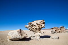 Stone formation Arbol de Piedra. Famous stone formation Arbol de Piedra in Bolivian altiplano Royalty Free Stock Images