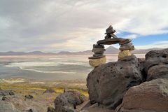Stone formation in the laguna colorada Royalty Free Stock Photography