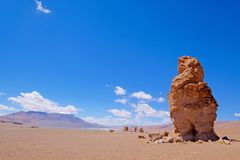 Stone formation Pacana Monks, Monjes De La Pacana, The Indian Stone, near Salar De Tara, Los Flamencos National Reserve. Atacama Desert, Chile, South America stock photo