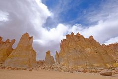 Stone formation Pacana Monks, Monjes De La Pacana, The Indian Stone, near Salar De Tara, Los Flamencos National Reserve. Atacama Desert, Chile, South America royalty free stock photography