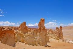 Stone formation Pacana Monks, Monjes De La Pacana, The Indian Stone, near Salar De Tara, Los Flamencos National Reserve. Atacama Desert, Chile, South America stock image