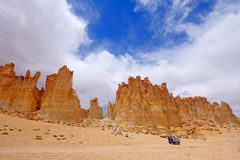 Stone formation Pacana Monks, Monjes De La Pacana, The Indian Stone, near Salar De Tara, Los Flamencos National Reserve. Atacama Desert, Chile, South America royalty free stock photo