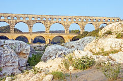 Stone Formation at Pont du Gard Royalty Free Stock Image