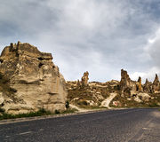 Stone formations in Cappadocia, Turkey. Stock Images