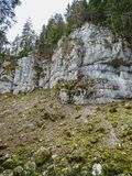 Stone formations near saut du doubs waterfall in the region of d. Oubs switzerland royalty free stock photos