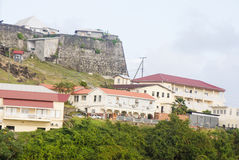Stone Fort Over Hillside Homes Stock Image