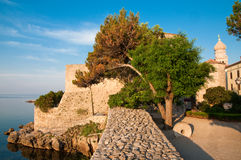 Stone fort walls  from square and Frankopan castle at Krk -Croa Royalty Free Stock Photos