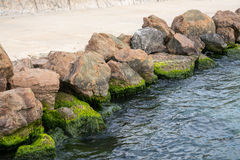 Stone fortification of the waterfront in Pomorie, Bulgaria Royalty Free Stock Photos