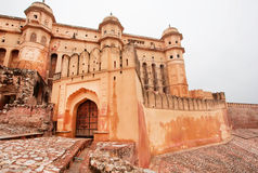 Stone fortified gates of ancient Amber Fort in Rajasthan Royalty Free Stock Photo