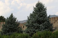 Stone fortress fences of Svetitskhoveli church royalty free stock photo