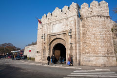 Stone fortress gates and crossroad Royalty Free Stock Images