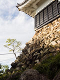 Stone foundation of the main tower of Gifu castle. On the top of Mount Kinka, a major city landmark stock photos