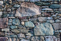 Stone foundation for vintage log cabin in blue ridge appalachia mountains stock photography