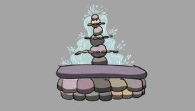 Stone fountain illustration Stock Photos
