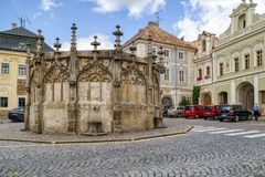 Stone fountain in Kutna Hora, Czech republic. KUTNA HORA, CZECH REPUBLIC - JULY 3:  Gothic stone fountain on July 3, 2017 in Kutna Hora Stock Photos