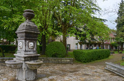 Stone fountain. With lions at the central place of Virpazar villiage, Montenegro Stock Images