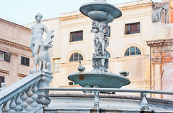 The stone fountain in Palermo Royalty Free Stock Images