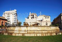 Stone fountain, Seville, Spain. Royalty Free Stock Photos