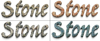 Stone. Four `Stone` words illustrated using stoned material Royalty Free Stock Photo