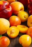 Stone fruits on wooden background. Yellow plums, apricots and nectarines Royalty Free Stock Images