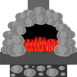 Stone furnace with fire isolated on white background. Vector illustration Stock Images
