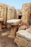 The stone furniture  in the chamber of megalithic temple of Haga Royalty Free Stock Images