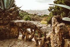 Stone gallery in the park Guell in Barcelona stock images