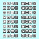 Stone game icons buttons icons, interface, ui Royalty Free Stock Photo