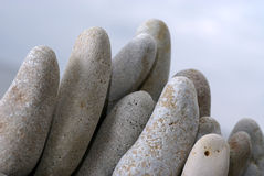 Stone garden. Pebbles on a beach from a low angle Stock Photo
