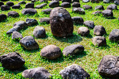 Stone in the Garden. The garden decoration with stone Stock Photo