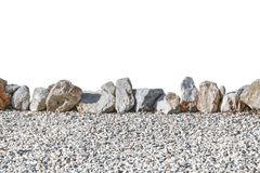 Stone garden fence isolated on white background. Natural fencing.  stock images