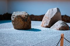 Stone garden within the japanese gardens in Grand Rapids Michigan royalty free stock image