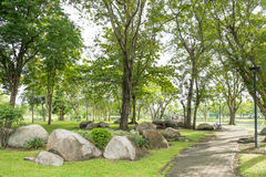Stone garden in the morning at Suan Luang Rama 9 Public Park Stock Image