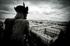 Stone Gargoyles of Notre Dame Royalty Free Stock Photography