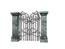 Stone Gate. Isolated stone a iron gate Royalty Free Stock Photography