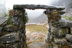 Stone gate. West of China's winter Stock Photography