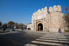 Stone gate of ancient fortress Stock Photos