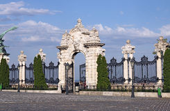 Stone gate and fence Buda royal castle Stock Photos