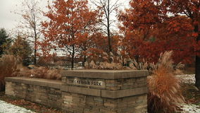 Stone gate in the park. Richmond Hill City Park stock footage