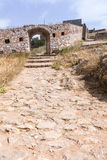 Stone gate and road, Palamidi medieval fortress  Nafplio, Greece Royalty Free Stock Photo