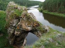 Stone gates. On the bank of Iset River, Middle Ural Royalty Free Stock Image