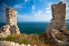 Stone Gateway on Aegean Sea. Stone Gateway to Aegean Sea - Santorini, Greece stock photography