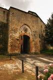 Stone gateway Porta all'Arco into Volterra Stock Photo