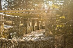 Stone Gazebo Pathway, Phelps Park, Decorah, Iowa Royalty Free Stock Photos