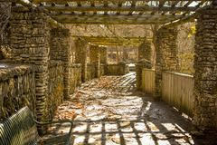 Stone Gazebo Pathway, Phelps Park, Decorah, Iowa Stock Photos
