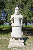 Stone general statue in the Eastern Royal Tombs of the Qing Dynasty, china. ZUNHUA - MAY 11: Stone general statue in the Eastern Royal Tombs of the Qing Dynasty royalty free stock photos
