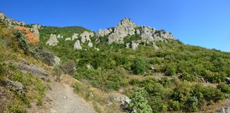 Stone ghost valley on the Crimean peninsula stock photos
