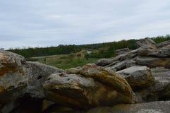 Stone Grave near modern Melitopol. Ukraine. Place of power!Walk autumn day royalty free stock photos